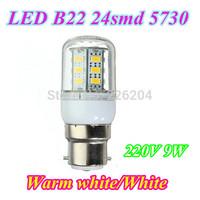 50pcs Big bayonet led lamp 220V Corn Bulb B22 Lamp 9W 5730 led 24 smd lights & lighting Energy Efficient home lighting