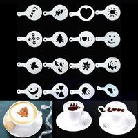 16Pcs Creative Nice Coffee Barista Stencils Template Strew Pad Duster Spray Art mode