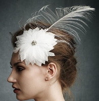 Free shipping Natural feather  fashion handmade women's hair accessory European and American  Ladies  Wedding headdress feathers