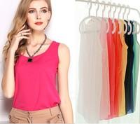 2014 Fashion Summer Women Clothing Chiffon Sleeveless Woman Blouse Candy Color Causal Chiffon Blouses Shirt Women Top
