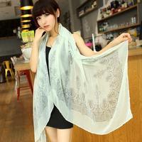 Free Shipping Chiffon silk scarf 2014 Promotional Discounts Chiffon Velvet Geometric and Elegant Women Print Scarf