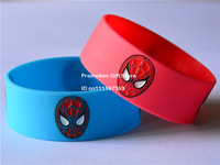 "The Amazing Spiderman Logo Silicon Bracelet, Colour Filled in Silicon Wristband, 1"" Wide, Blue & Red, 50pcs/Lot, Free Shipping"