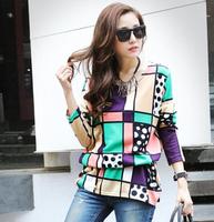 2014 New Korean Fashion Color Pattern Loose Big Code Knitting Coat Long Version (Belt)