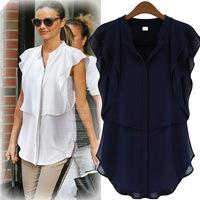 European and American Women Summer New Arrival Short Sleeve V-Neck Chiffon Blouse , Cheap Shirt