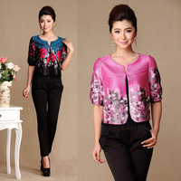 2013 spring and summer print half sleeve mother clothing small cape silk half sleeve one button top short design