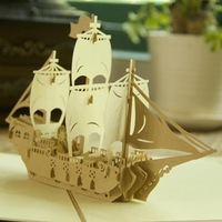 """Vintage """"Sailing Boat"""" Handmade Kirigami & Origami 3D Pop UP Greeting Cards For Birthday Gift Free Shipping (set of 10)"""