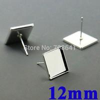 12mm New Silver tone Square Bezel tray Cabochon style Stud Earrings Settings Blank Findings Bulk Wholesale