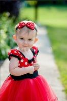 2014 Red Polka Dot Dress Bow girls chiffon dress girls princess dress Europe and America NTZ0043