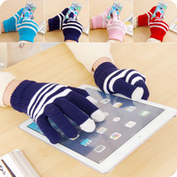 2014 New Winter Unisex men women Touch Screen Stretchy Soft Warm Winter Wool Gloves Mittens for Mobile IPhone 5 5S Tablet Pad