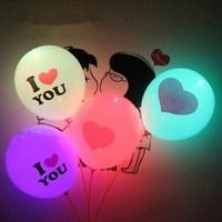 200pcs/lot 12inch Colorful led flash luminous balloons, thickening printed night light wedding balloon+balloon pump
