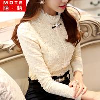 Lace basic shirt 2014 autumn and winter women plus size thick top plus velvet lace long-sleeve shirt