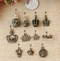 Crown charm collections, 11 style mixed, antique bronze, wholesale