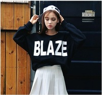 New 2015  Women Black Letter Printed Thin Hoodies Full Sleeve O-neck Loose Casual Sweatshirts Pullovers Tops Free Shipping 639