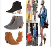 new design Isabel Pour leather low heeled ankle boots women fashion thick heel suede leather knight martin booty