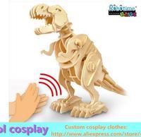 Wooden 3D puzzle toy model dinosaur birthday gift electric voice Tyrannosaurus Rex Stegosaurus Brontosaurus Mammoth
