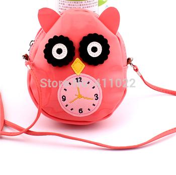 Оптовая продажа 2014 мода дизайнер популярные ручной работы розовый сова часы сумка 5 шт./лот бесплатная доставка