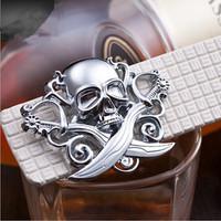 Free Shipping 6 colors Silver skull buckle 2014 design  Brand Belts Men / women Leisure leather belt