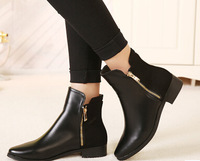 Womens Riding Boots Faux Leather Chain Chunky Heels Womens Black Ankle Boots Autumn Casual Ladies Boots Shoes Wholesales