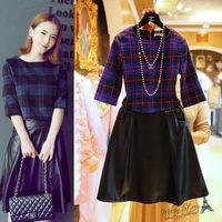 Free shipping 2014 winter new women clothing set,skirt suit,women elegant half-sleeves plaid coat and knee-length PU skirt