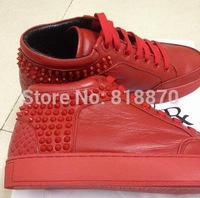 Roya Top wholesale quality Casual Sneakers men Lace Up High Top Netherlands red Genuine Leather flats sneaker with Rivets 38-46