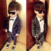 2014 New England Autumn plaid suit handsome boy suit(China (Mainland))