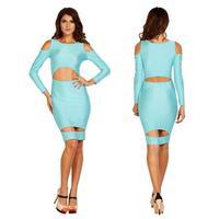 2014 fashion women party club cutout bodycon dress long sleeve celebrity party club casual vestido