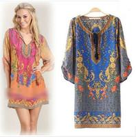 Sale summer fashion Ladies' vintage flower print Dresses v-neck Knee-Length three quarter sleeve loose cascul brand dress W00441