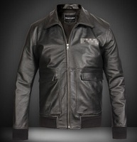 EMS free shipping 2014 New Top quality men genuine leather jacket air force pilot jacket natural cowhide overcoat