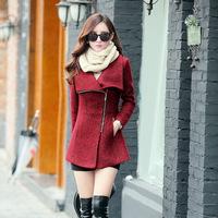 New 2014 Autumn Winter Women Wool Coat Fashion Slim Zipper Long Coat Plus Size Wool Overcoat Free Shipping c1328