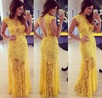 Sexy Women Yellow Crocheted Lace Embroidery See Thru Mermaid Bodyocn Maxi Long Dress Party Eve Dresses Vestidos femininos
