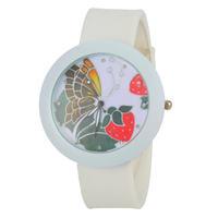 Women Rhinestone Watches Fashion Watch Round Analog Watch with Silicone Strap -5