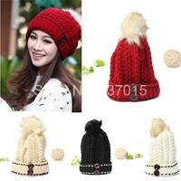 Wholesale-hot New 2014 Winter Cap Women Warm Button Fur Beret Ski Beanie Ball Wool Crochet Knitted Cap