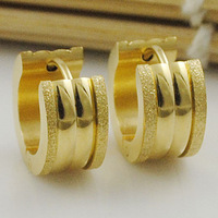 Men Hoop Polishing Scrub Earrings Circles 14K Gold-Plated Jewellery Stainless Steel  Rock Cool Free Shipping