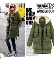 2014 New Arrival Brand Long Winter Coat Women White Duck Down Jacket Female Parka With Hood Black Outwear For Women
