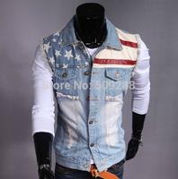 Free Shipping men us flag logo casual vest Slim Washed wear white Hole Denim vest men