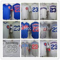 Ryne Sandberg Jersey 2014 NEW Grey Blue White Pinstripe, 1984,1988Throwback Chicago Cubs Jerseys Throwback
