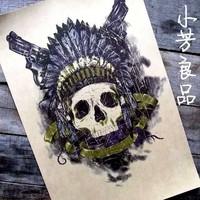 "Rob Vintage cowhide paper skull decorative painting steam punk heavy metal 16""x11""(42*30cm)"