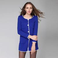 L-4XL Brand Jacquard Long Sleeve Pocket Trench Coat for Women Ladies Tops Outerwear Autumn Fashion Windbreaker Cardigan coat