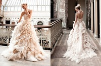 Hot selling Vintage Ruffles Puffy Tulle Ball Wedding Dresses Bridal Gowns 2015