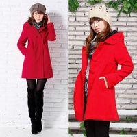 Casual Women Warm Hooded Back Slit Shaped Long Pleated Hem Woollen Thicken Coat Outwear  #66147