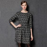 2014 new fashion antumn European and American plus size  ladies lace flower printing dress was thin minimalist SleeveL-4XL