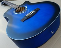 blue folk guitar 40inch attractive good handicraft with free string free shipping