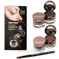 Music Flower 4in 1 Eye Brow Powder Eyeliner Brown+Black 4pcs/set 24hours Long Lasting Makeup Waterproof  Eye Liner Stage Makeup