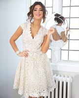 Sexy A-line V-neck White Lace Short Sleeve Open Back Above Knee Length Mini Cocktail Dresses Prom 2014 Wedding