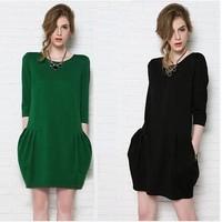 2014 new arrival European & American women fat girls Spring & Autumn loose long-sleeved bud dress cotton clothes women Dress