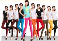 Women's fashion women sexy candy color pencil pants pants/feet/high elastic waist nine points leggings