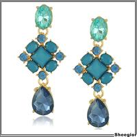 Vintage Fashion Blue Crystal rhinestone earrings Costume earrings Jewelry waterdrop Gold Statement drop earrings