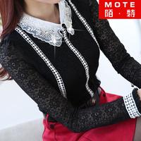 2014 women's spring new high-necked long-sleeved lace shirt plus velvet