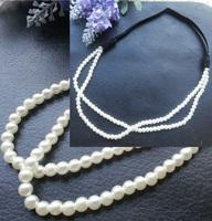 12pcs/lot classic Elegant Womens Girls 2 Layers Pearl Beads Elastic Headband Hair Band hair accessories