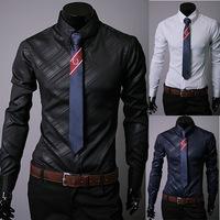 2014 Mens Slim fit Unique neckline stylish Dress long Sleeve Shirts Mens dress shirts 17colors ,size: M-XXXL